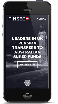 iPhone with responsive Finsec PTX website designed by Hannah Sutton